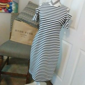 Calvin Klein Cold Shoulder Flare Sleeve Dress
